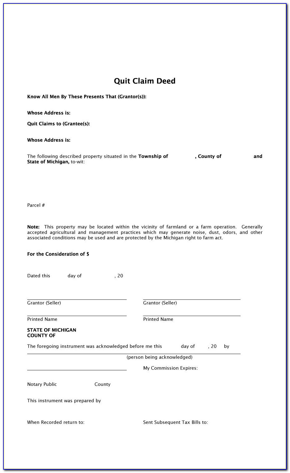 Quit Deed Claim Form Indiana