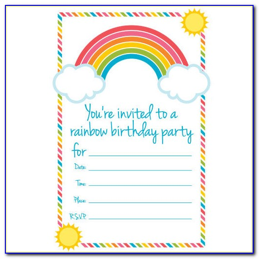 Rainbow Birthday Invitations Templates Free