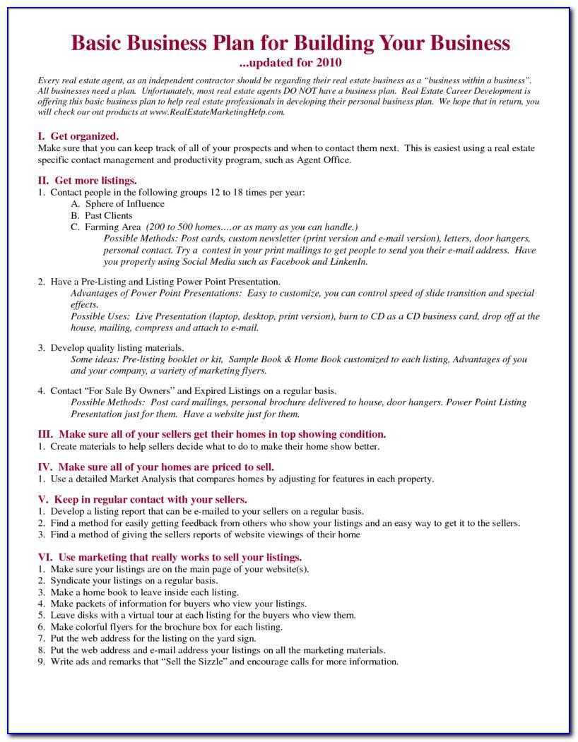 Real Estate Agent Business Plan Template Free