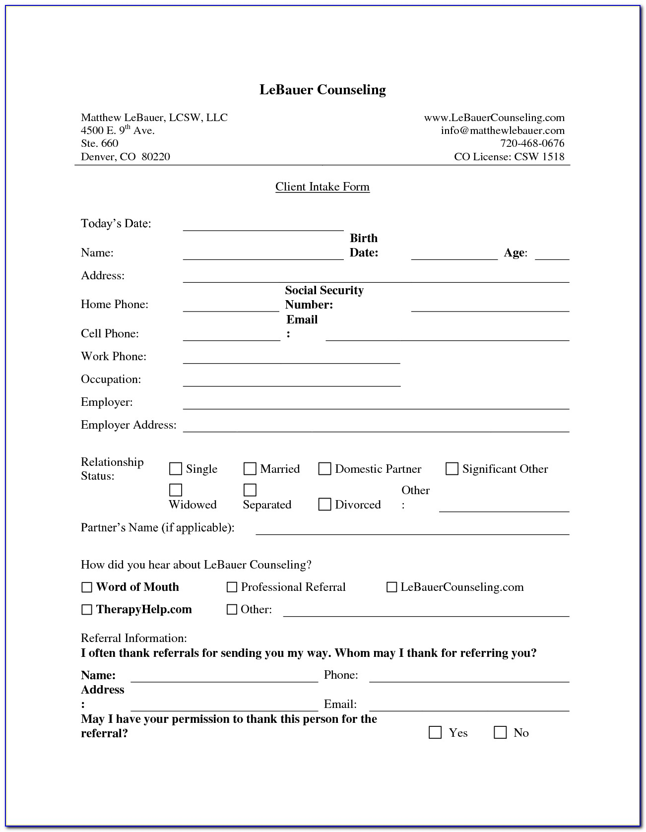 Real Estate Agent Client Intake Form