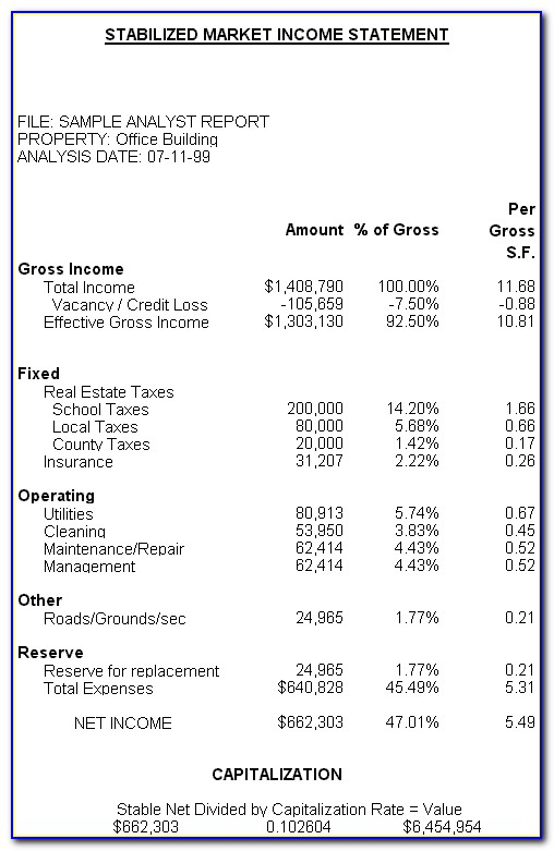 Real Estate Agent Profit And Loss Statement