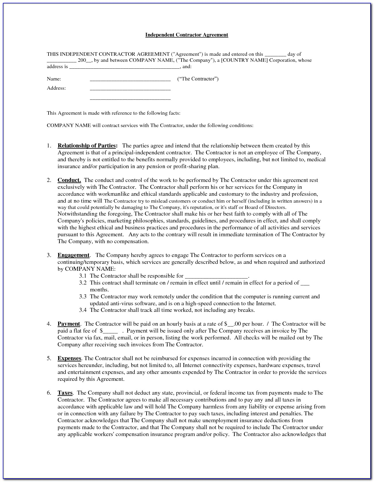 Real Estate Broker Independent Contractor Agreement