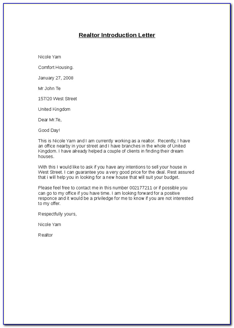 Real Estate Introduction Letter Template