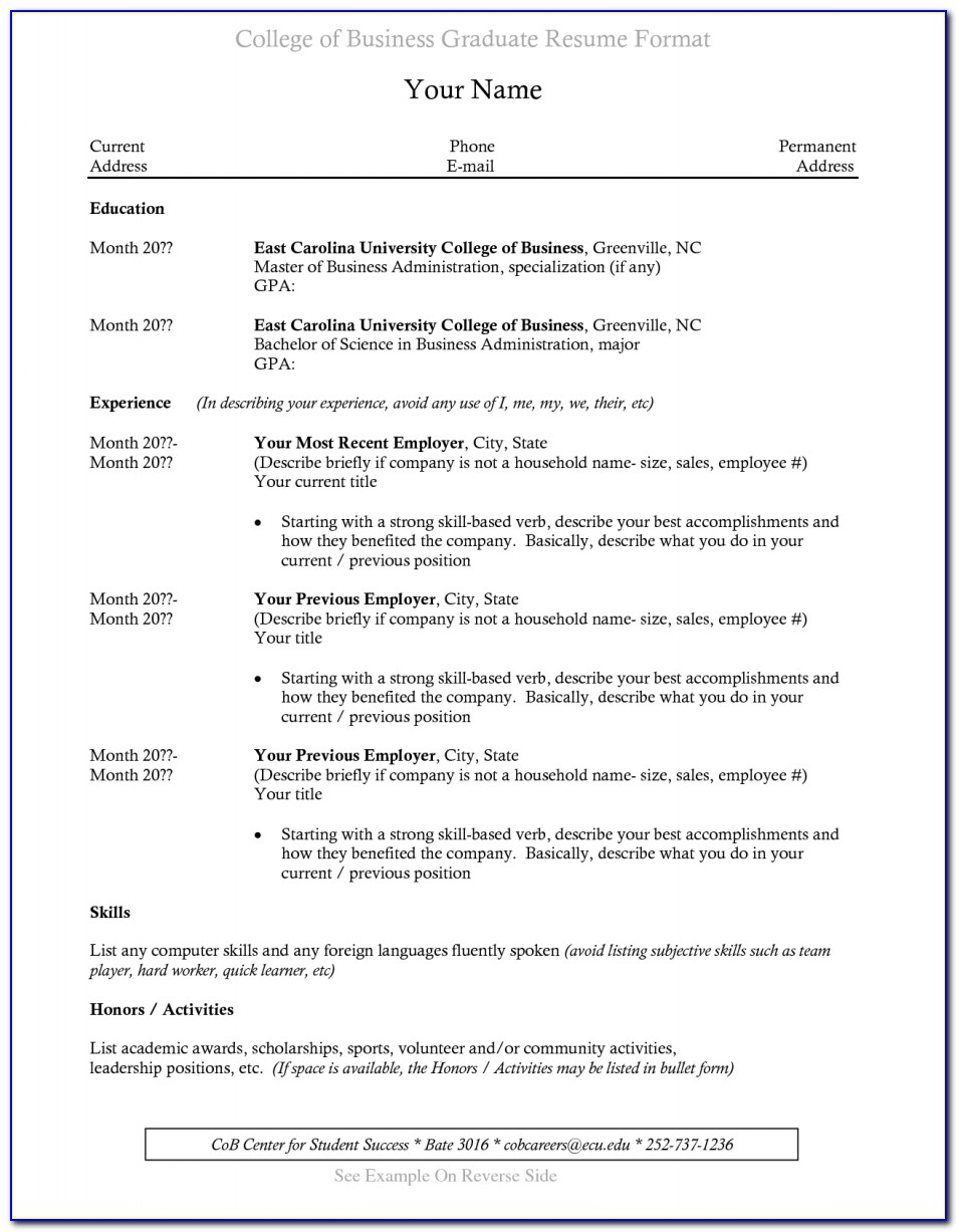 Recent College Graduate Resume Template Download