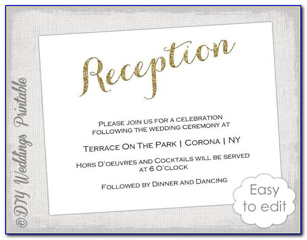 Reception Cards Template Free