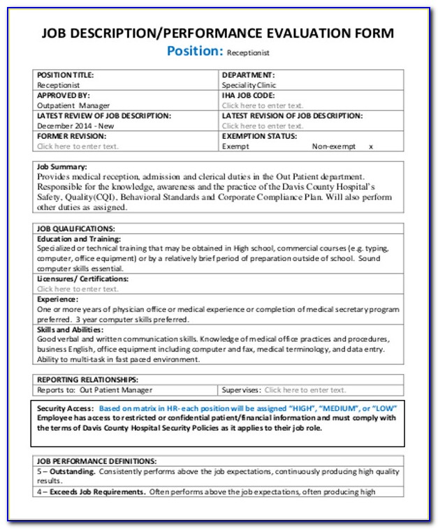 Receptionist Performance Evaluation Form