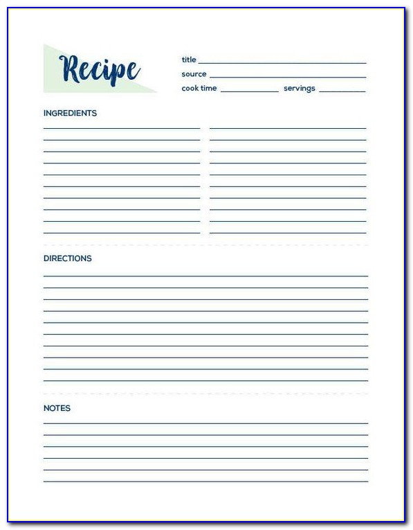 Recipes Blank Template