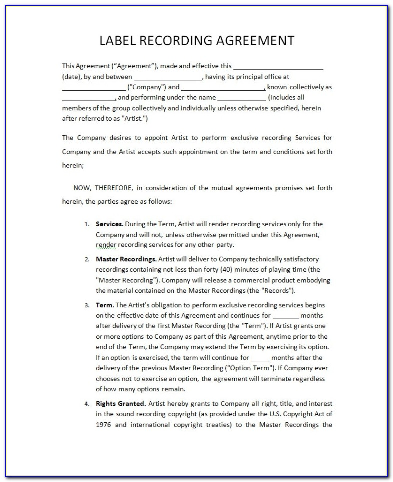 Record Label Contract Template
