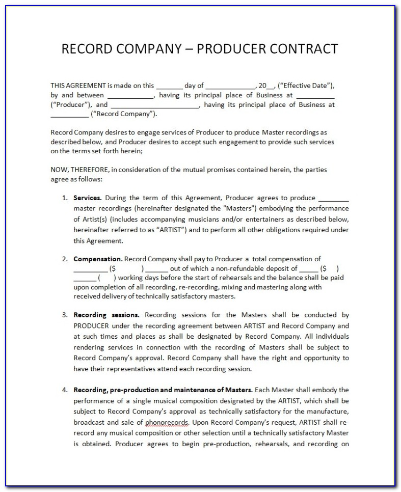 Record Label Contract Templates