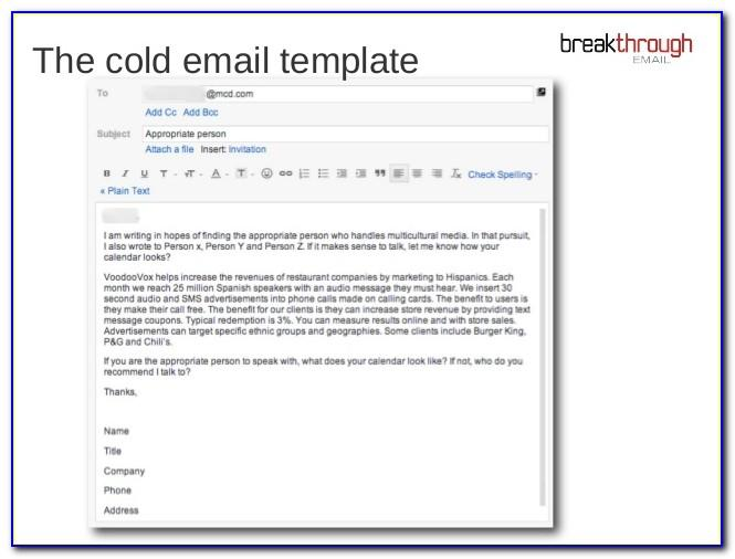 Recruiter Cold Call Email Template