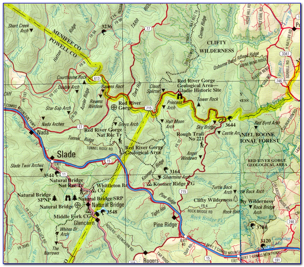 Red River Gorge Topographic Trail Map