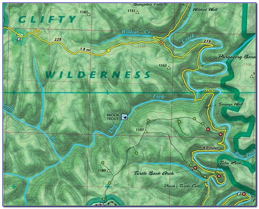 Red River Gorge Unmarked Trail Map
