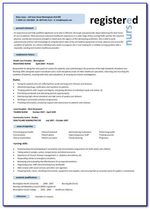 Registered Nurse Resume Template Word 2007