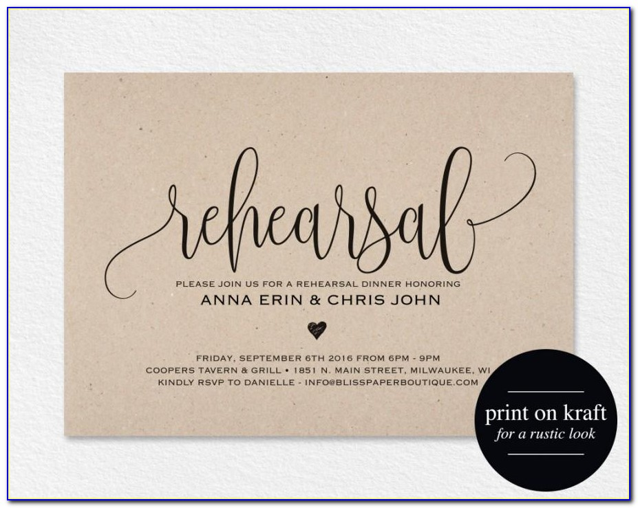 Rehearsal Dinner Invitation Samples