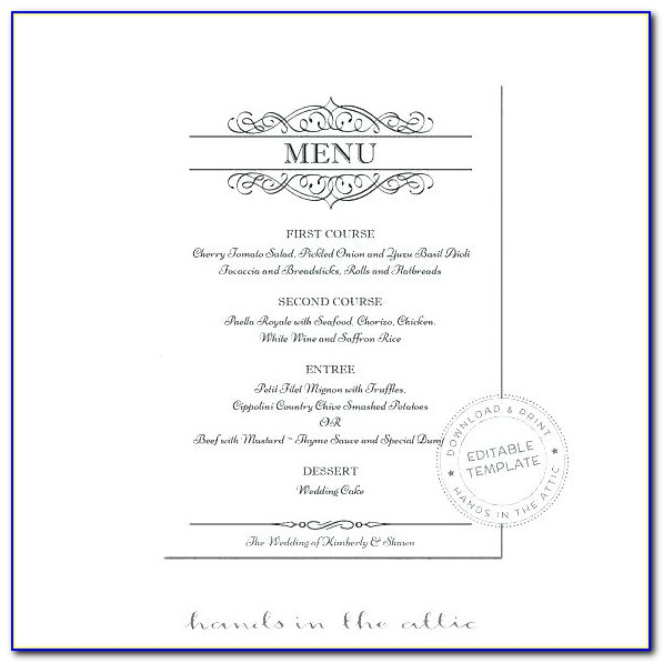Rehearsal Dinner Menu Card Template