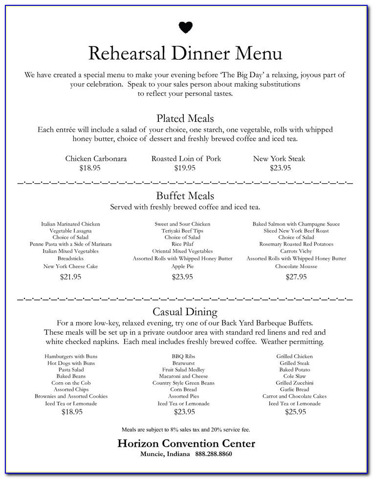 Rehearsal Dinner Menu Templates