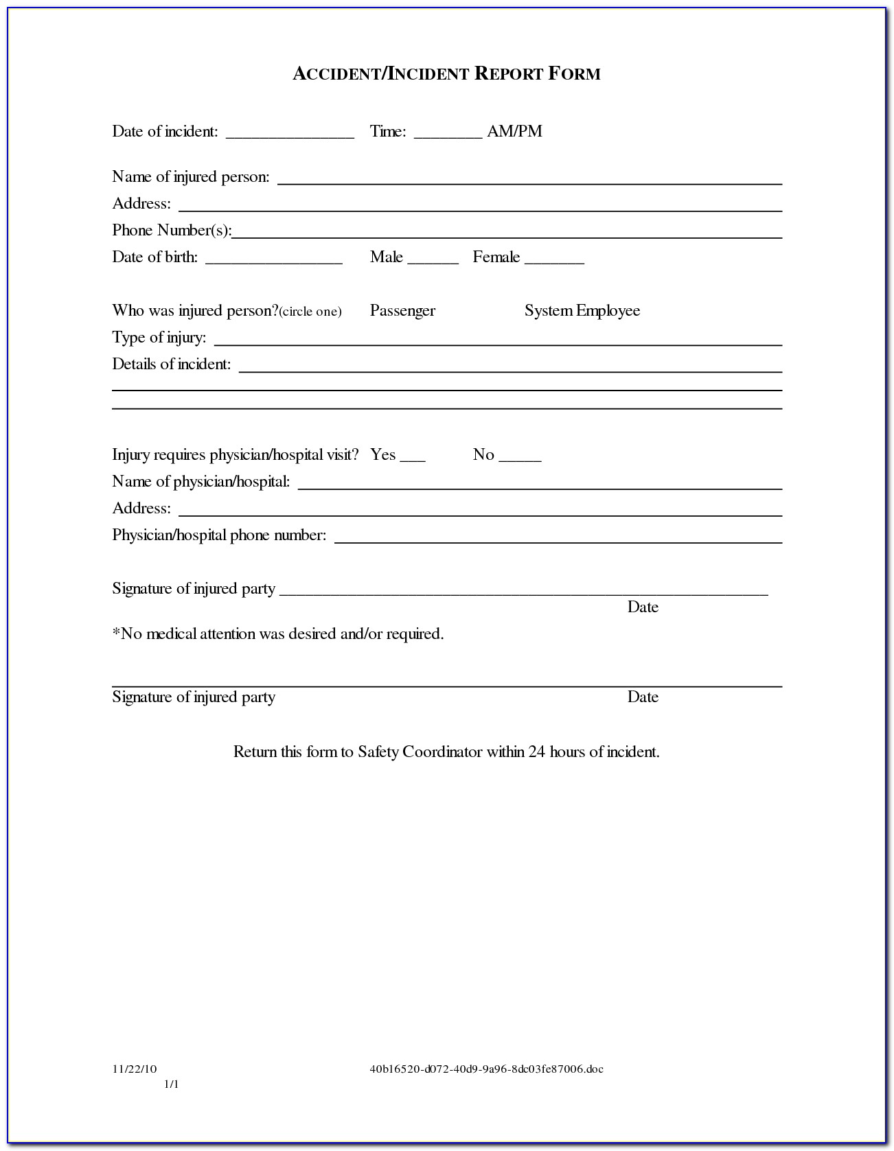 Release Of Liability Form Car Accident Template
