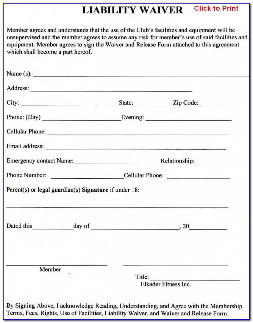 Release Of Liability Form Template Canada