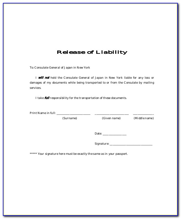 Release Of Liability Form Template Word