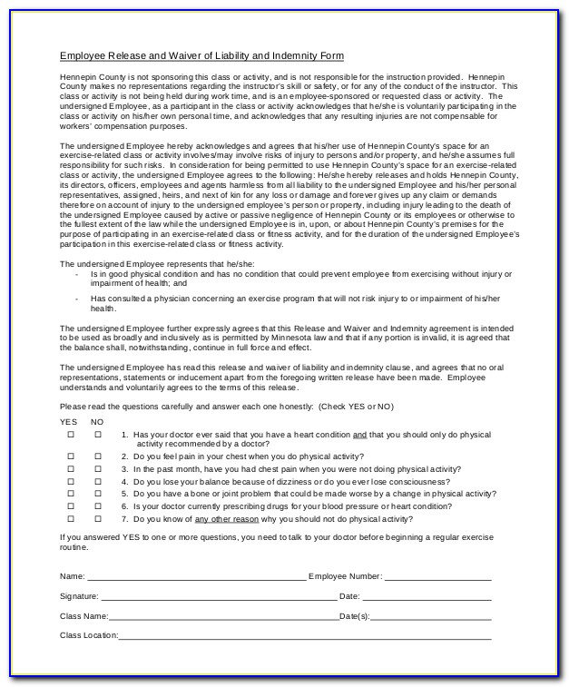 Release Of Liability Waiver Sample