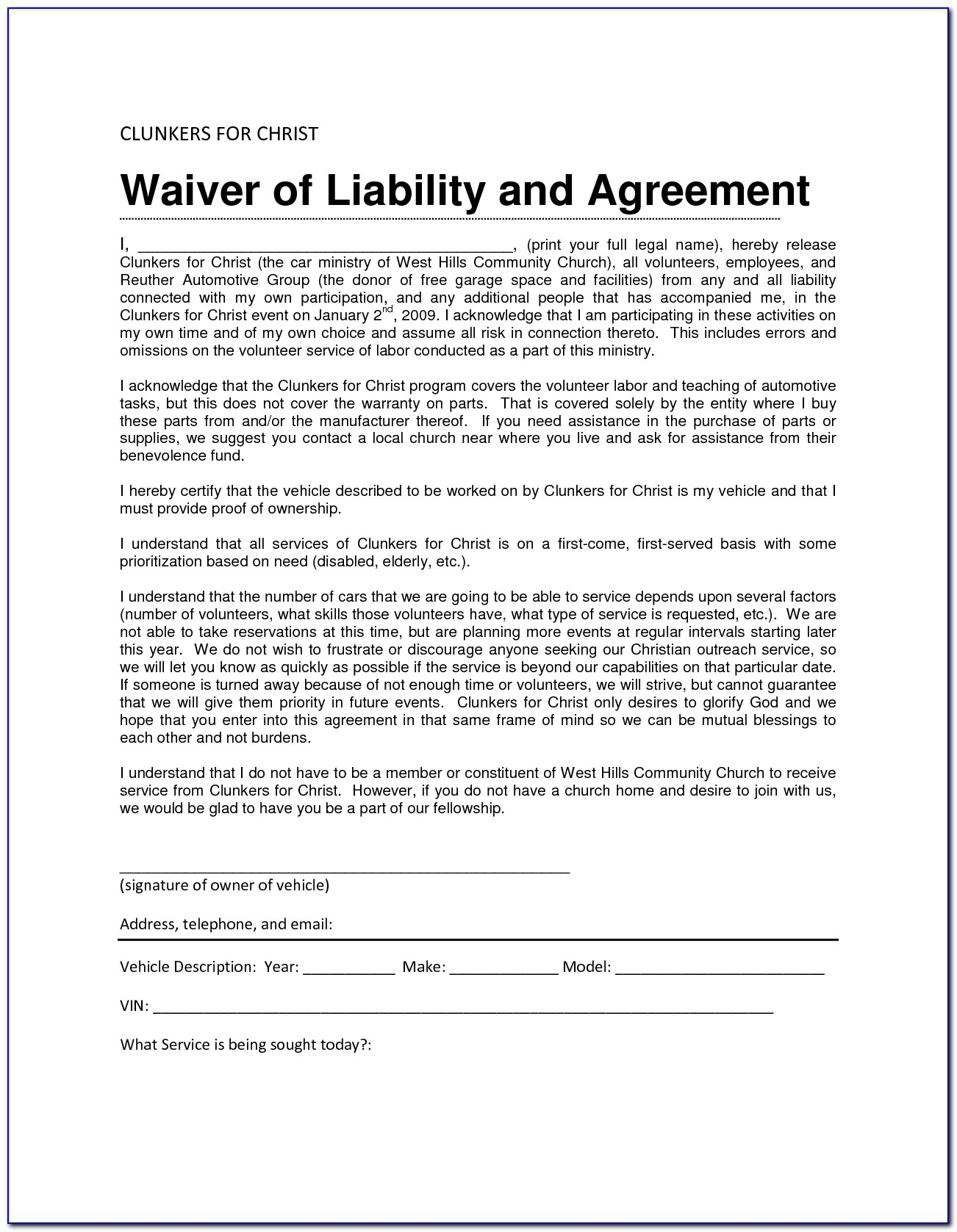 Release Of Liability Waiver Template Free