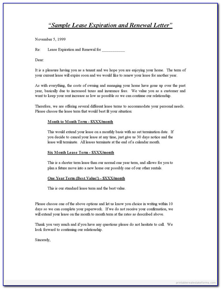Renewal Residential Lease Agreement Form
