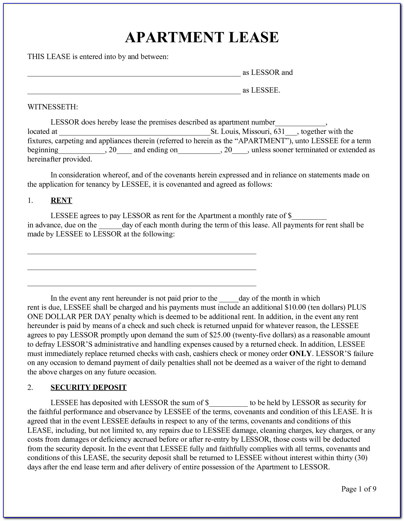 Rent Contract Template