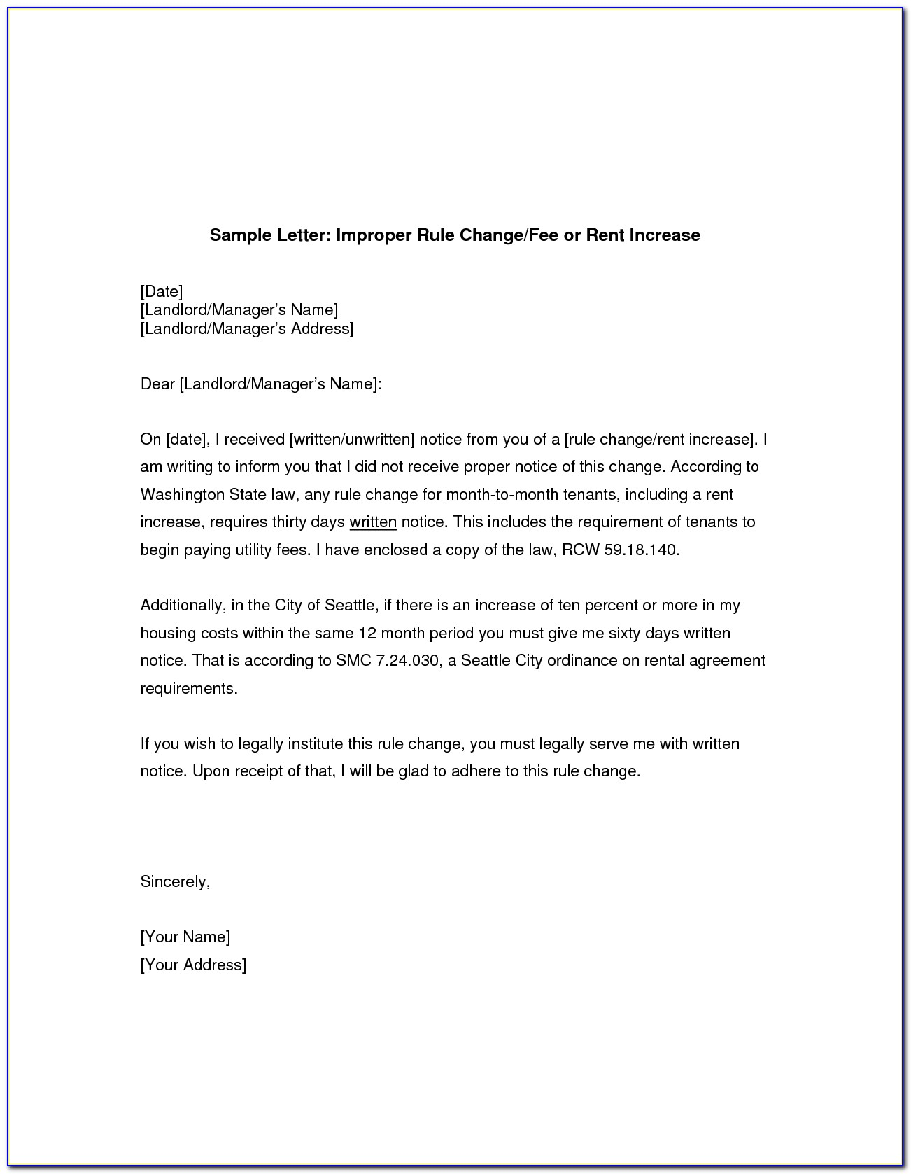 Rent Increase Letter Example