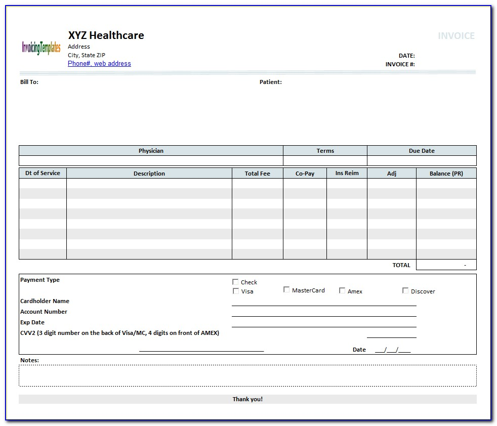 Rent Invoice Template Excel
