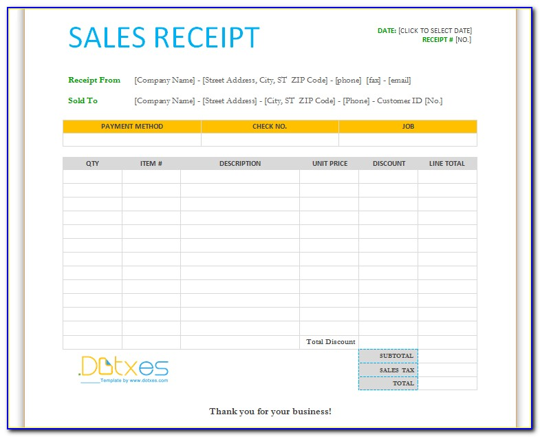 Rent Receipt Template Free Download