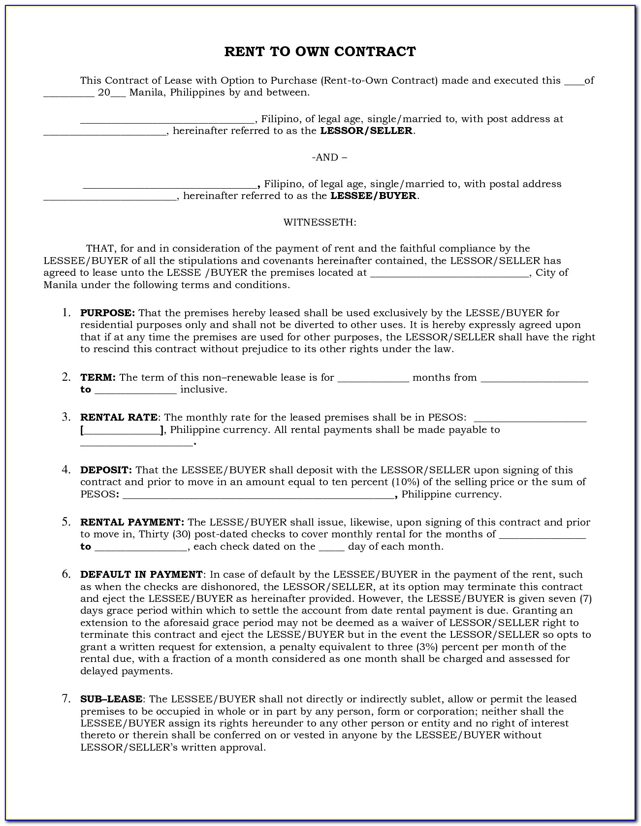 Rent To Own Contract Template California