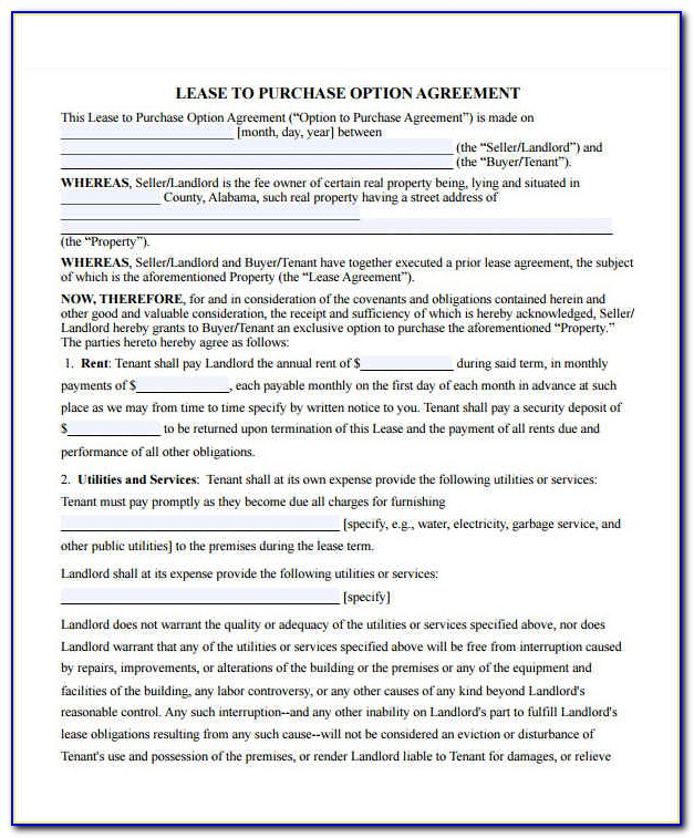 Rent To Own Contract Template Free