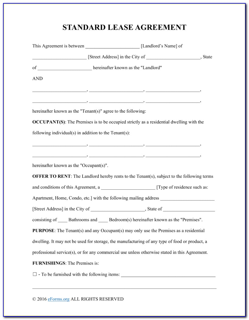 Rental Agreement Contract Template Free