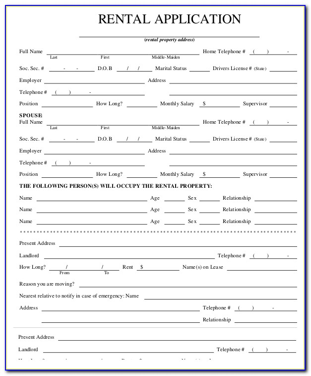 Rental Application Form Pdffiller