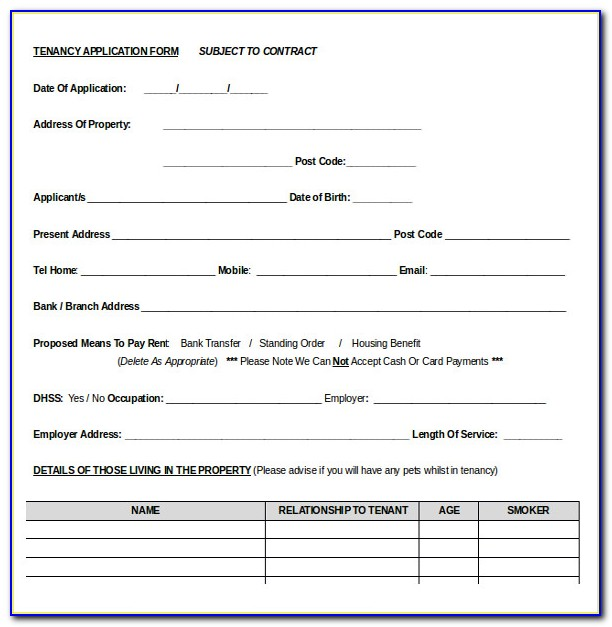 Rental Application Form Word Document