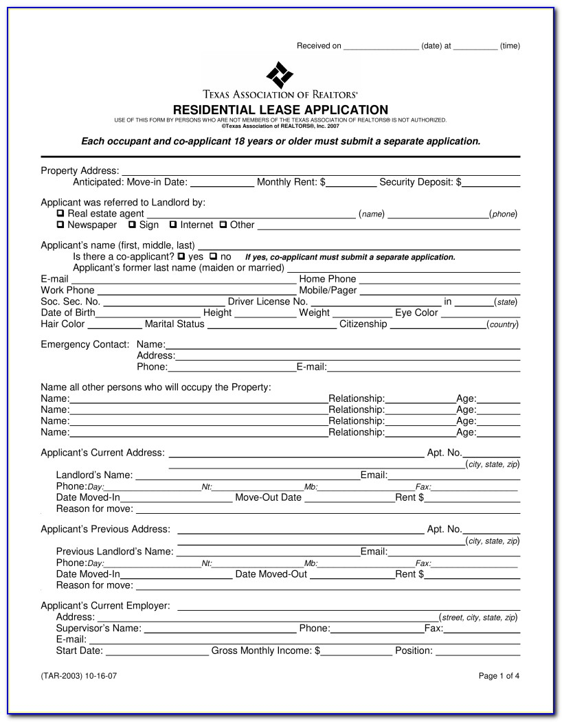Rental Application Form Word Format