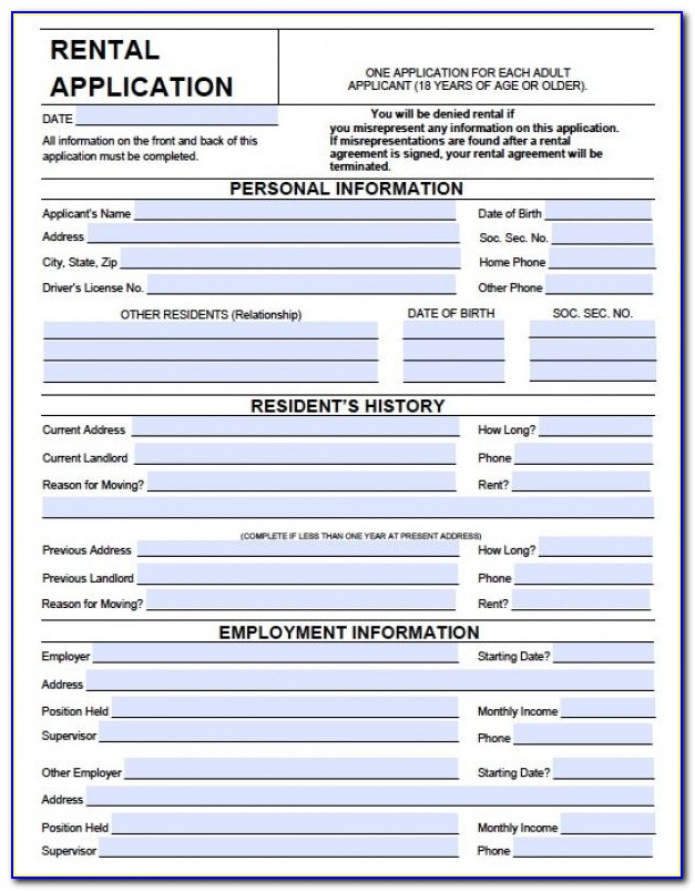Rental Application Form Word