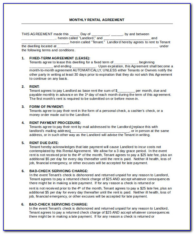 Rental House Agreement Form