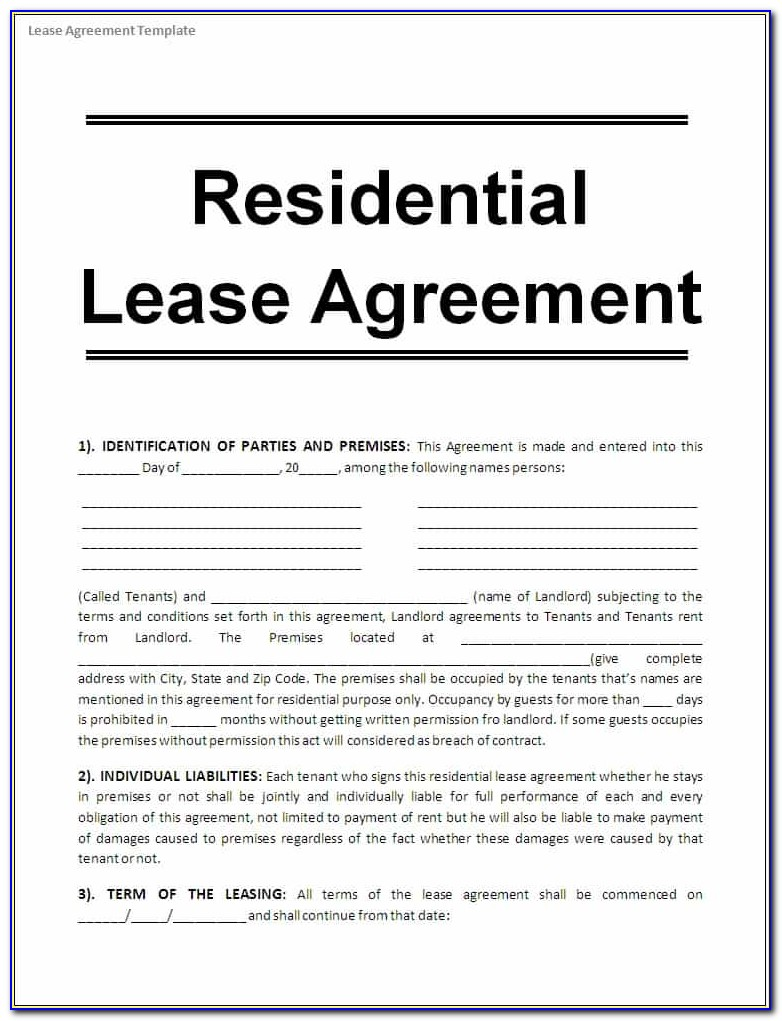 Rental Lease Agreement Form Alberta