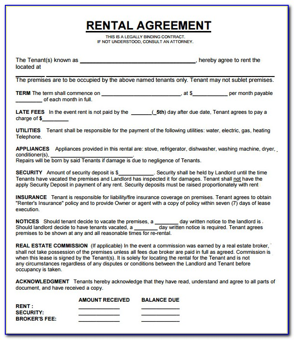 Rental Property Lease Agreement Template Ontario