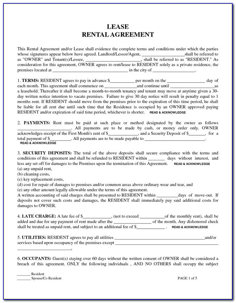 Rental Sublease Agreement Template Free
