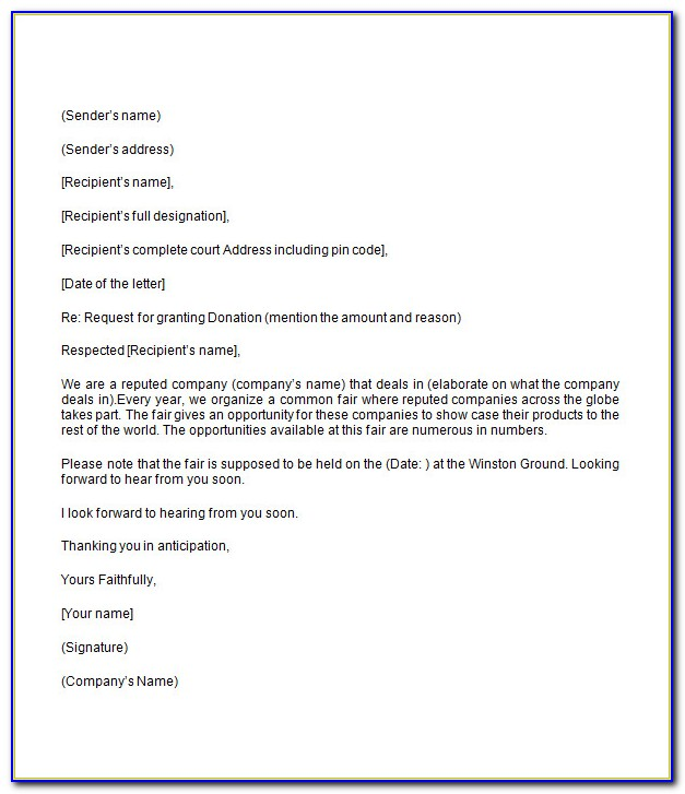 Request For Donation Letter Example