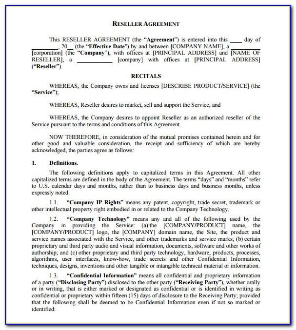 Reseller Agreement Template Free Download