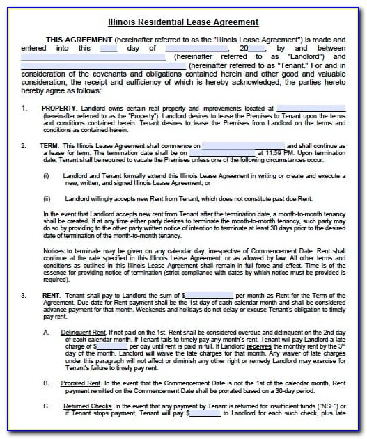 Residential Lease Agreement Form Illinois