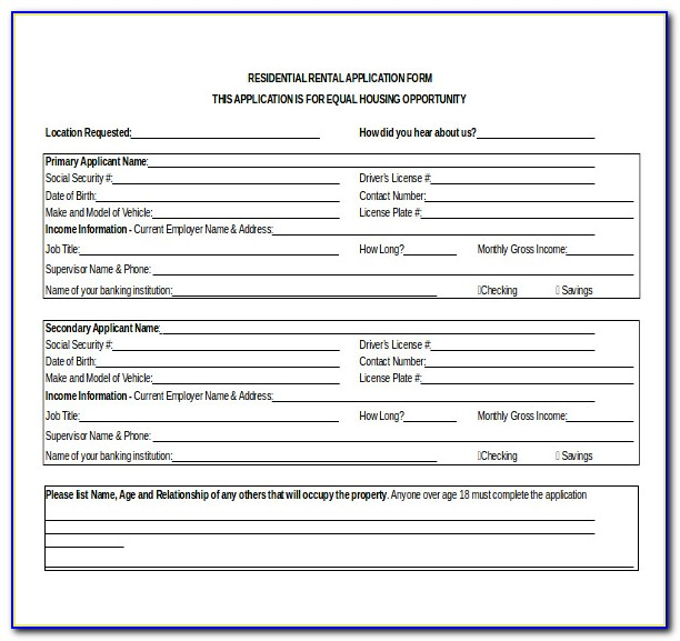 Residential Rental Application Forms