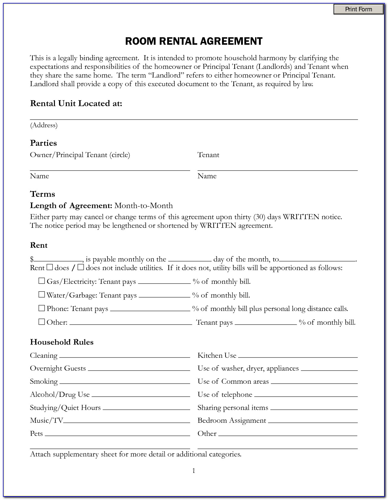 Residential Room Rental Agreement Form Free