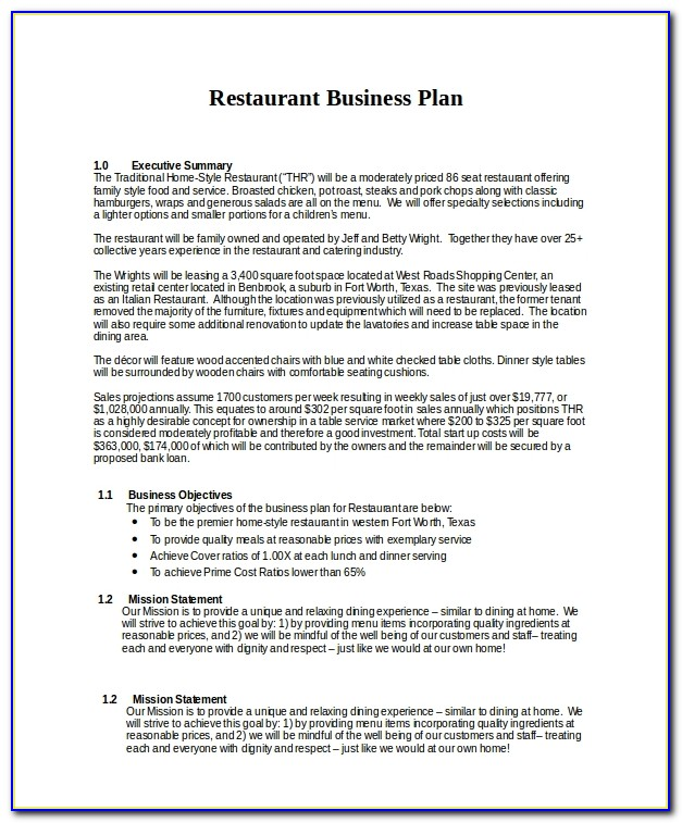 Restaurant Business Plan Sample Pdf