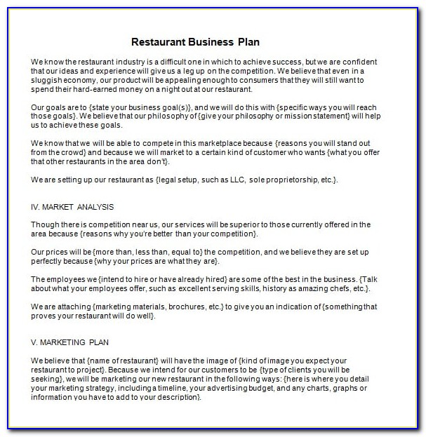 Restaurant Business Plans Templates