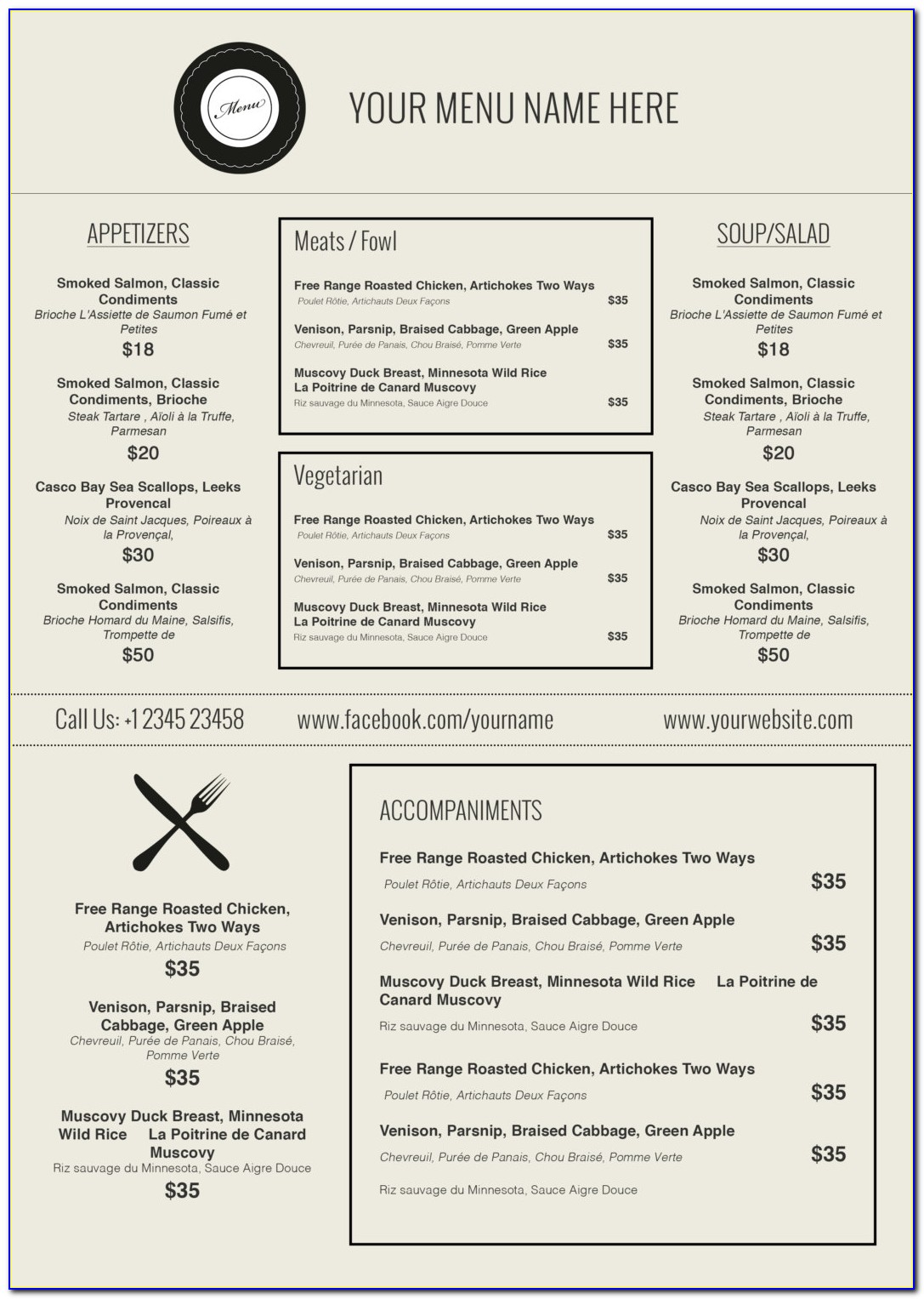 Restaurant Menu Layout Free Download