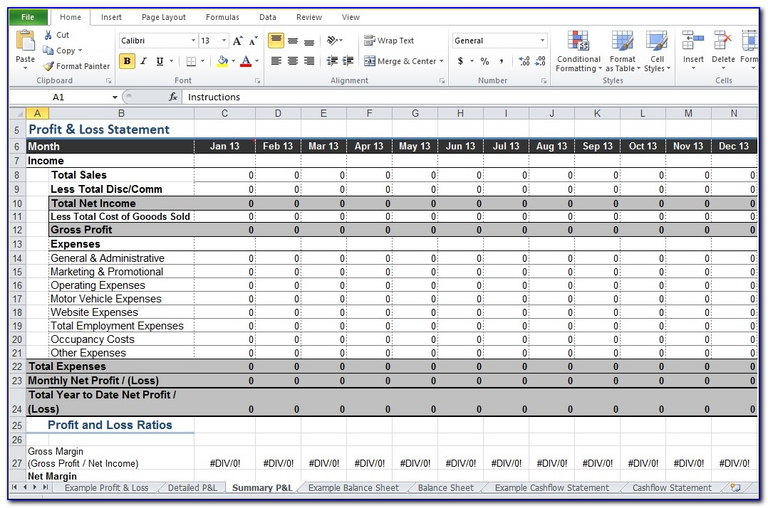 Restaurant Profit And Loss Template Excel